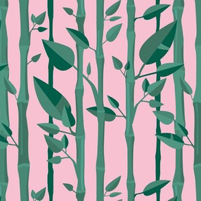 Japanese Bamboo forest trees wood illustration green pink