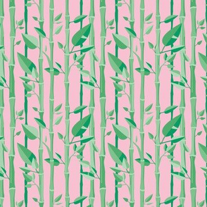 Japanese Bamboo forest trees wood illustration green pink SMALL
