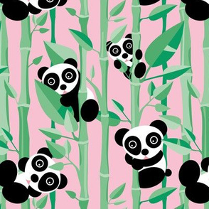 Cute little panda forest bamboo trees lush asian garden design pink green girls