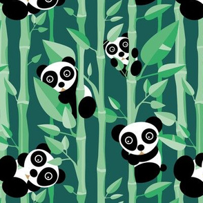 Cute little panda forest bamboo trees lush asian garden design green boys