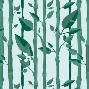 Japanese Bamboo forest trees wood illustration blue green