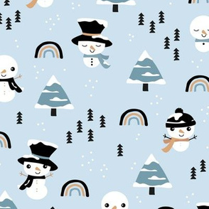 Little winter rainbows and snowy snowman pine trees christmas holiday baby blue boys