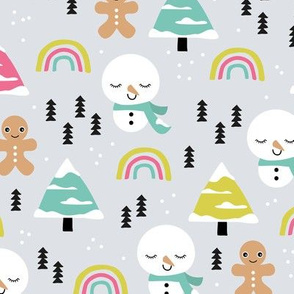 Little winter rainbows and snowy snowman and gingerbread men pine trees christmas holiday colorful girls
