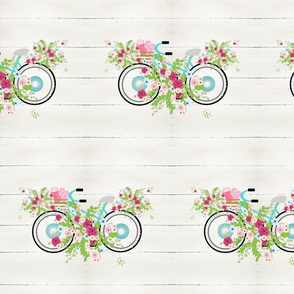 Beach ready floral mint beach bike LG105-  whitewash rustic wood