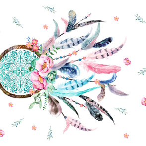 "36""x54"" Pink and Aqua Dreamcatcher"