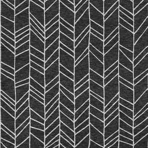 Black Heather Crazy Chevron Herringbone Hand Drawn Geometric Pattern GingerLous