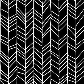 Black Crazy Chevron Herringbone Hand Drawn Geometric Pattern GingerLous