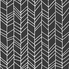Onyx Crazy Chevron Herringbone Hand Drawn Geometric Pattern GingerLous