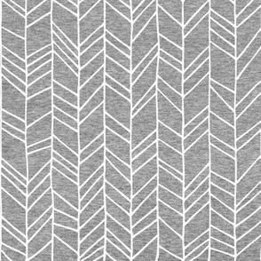 Heather Grey Crazy Chevron Herringbone Hand Drawn Geometric Pattern GingerLous