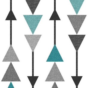 Chasing Triangles – Black Turquoise Teal Grey