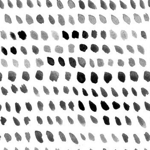 Watercolor Dots - Black, White, Gray
