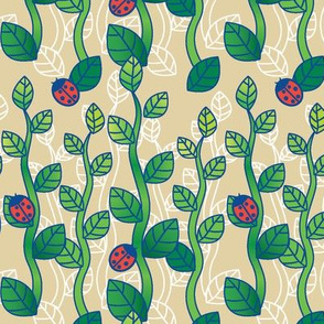 Ladybug Garden-Beige
