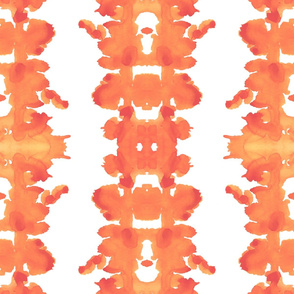 Orange-Yellow on White Double Ink Blots