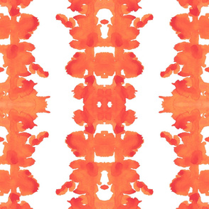 orange and white double inkblot
