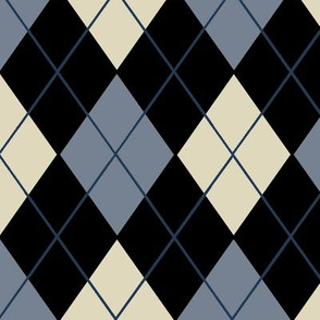 Classic Argyle Plaid in Gray Black Cream and Blue