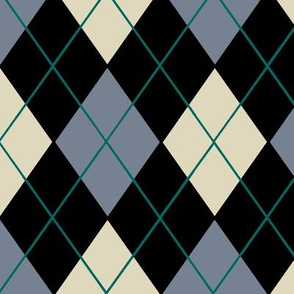 Classic Argyle Plaid in Gray Black Cream and Teal