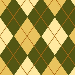 Classic Argyle Plaid in Olive Green Cream Sand and Brown