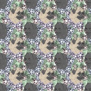Floral Pug portraits