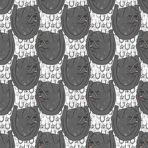 Black Pug horseshoe portraits