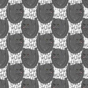 Black Pug horseshoe portraits