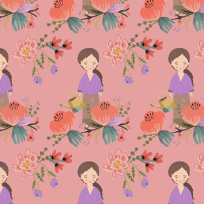 Brown Haired Garden Girl on Apricot
