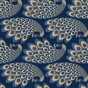 Blue and Gold Art Deco Peacock / Rotated