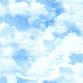 19-10ad Blue Sky Clouds Watercolor Nature Baby