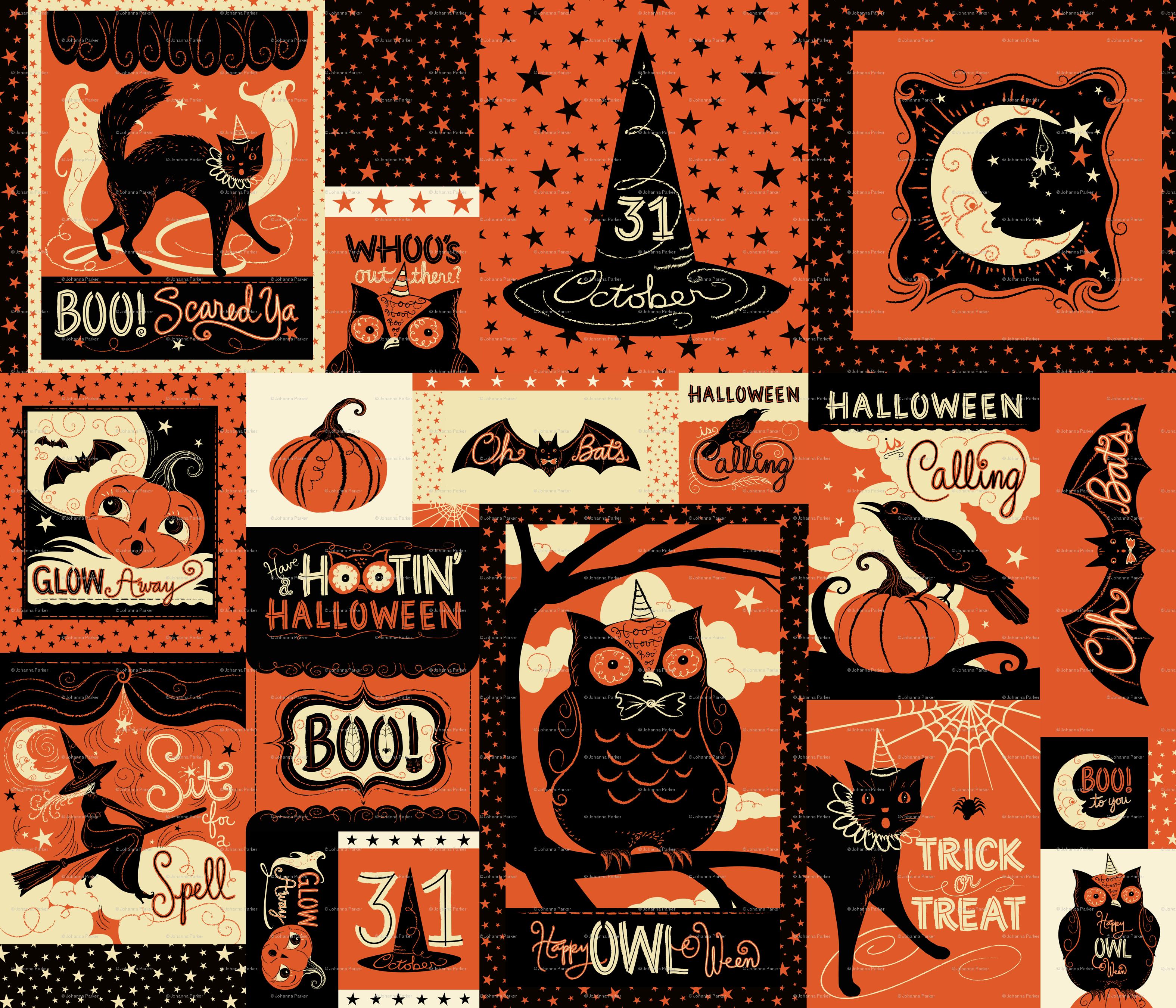 Vintage Halloween Patchwork Large Wallpaper