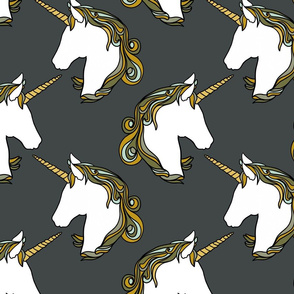 Unicorns on slate grey 10""