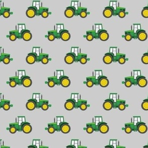 "(1"" scale) green tractors on grey - farm fabric C19BS"