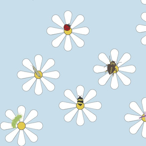 Bugs on Daisies in Baby Blue