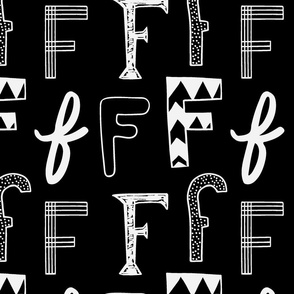 Letter F Black and Grey