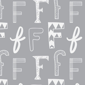 Letter F - Grey and Light Grey