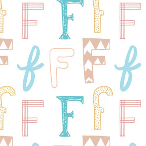 Letter F Mixed Pastels