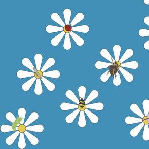 Bugs on Daisies in Dark Blue