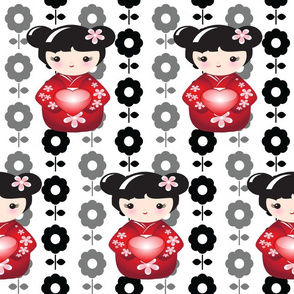 Kokeshi Asian Girl in Red Black Flowers