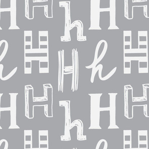 Letter H Grey and Light Grey