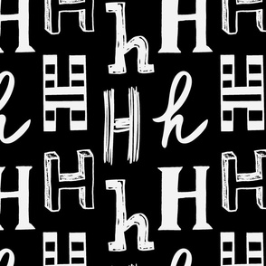Letter H Black and Grey