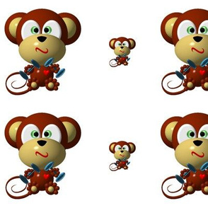 Cute Critters with Heart - Monkey with Muscles