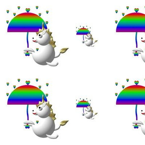 Cute Critters with Heart - Unicorn with Umbrella