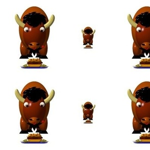 Cute Critters with Heart - Buffalo Eating Beef on Weck and Buffalo Wings