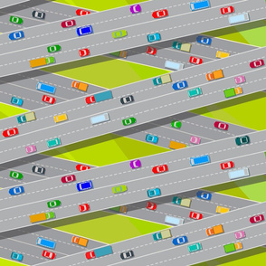 City traffic. Highways. Bird's-eye view