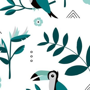 Toucan Hawaii jungle palm leaves and blossom summer kids rainforest blue teal neutral JUMBO