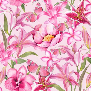 Pink Watercolor Spring Flowers