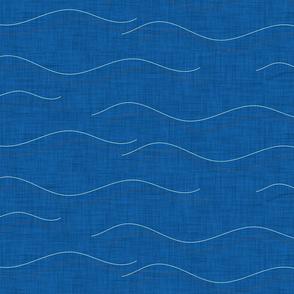SHARK WHALE WAVES BLUE