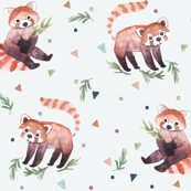 RED PANDAS WATEWRCOLOR light blue
