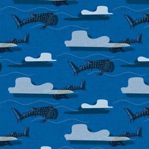 SHARK WHALE BLUE TEXT