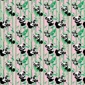 Cute little panda forest bamboo trees lush asian garden design pink green girls SMALL