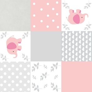 elephant quilt ROTATED pink gray clouds LG18 wholecloth