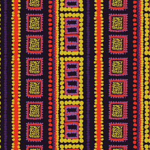 Tribal Squares and Dots - Warm Colors